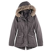 Girls 7-16 SO® Midweight Faux-Fur Trim Anorak Jacket