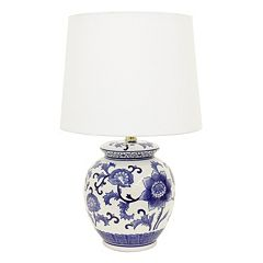 Decor Therapy Blue & White Floral Ceramic Table Lamp