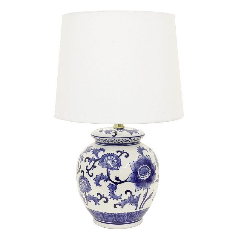 Decor Therapy Blue & White Floral Ceramic Table Lamp. Multicolor