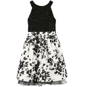 Girls 7-16 Speechless Sequin Lace Floral Print Fit & Flare Dress