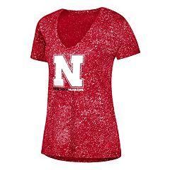 Women's adidas Nebraska Cornhuskers Logo Stack Tee
