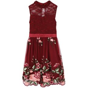 Girls 7-16 Speechless Floral Embroidered Illusion Fit and Flare Dress