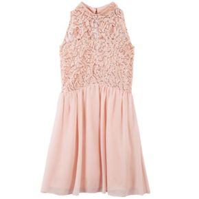Girls 7-16 Speechless Sequin Lace Mockneck Dress