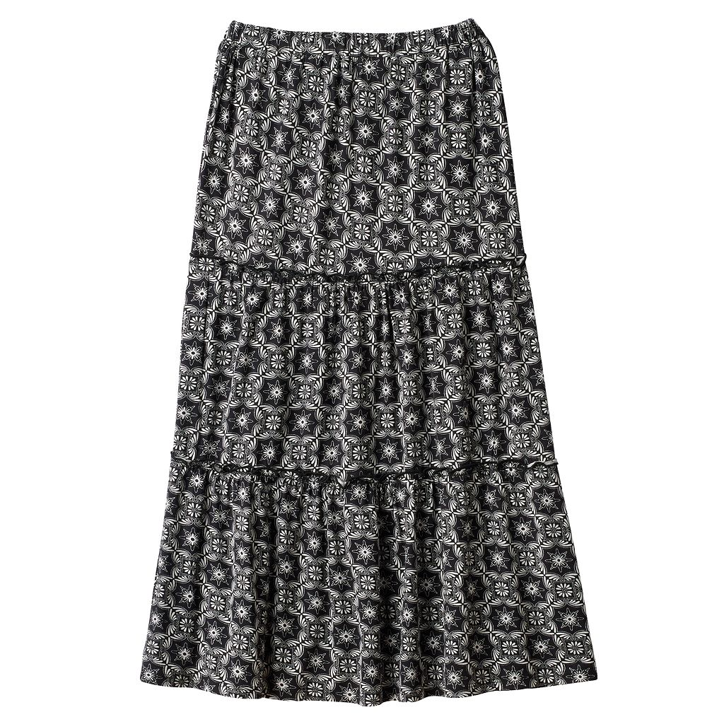 Girls 7-16 Joey B Patterned Ruffle Tiered Maxi Skirt