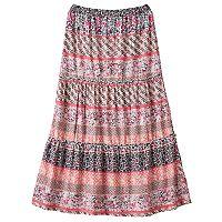 Girls 7-16 Joey B Patterned Ruffle Tiered Maxi Skirt