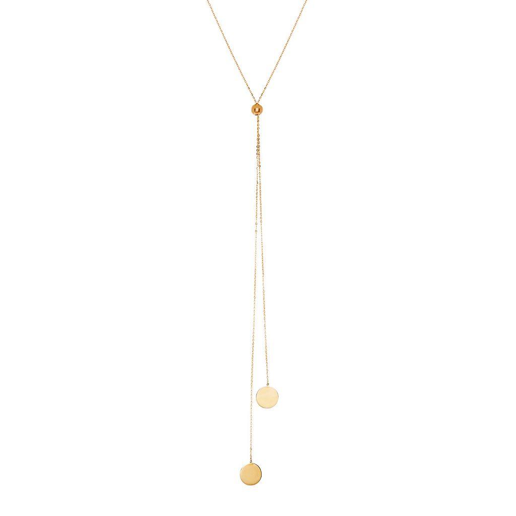 Everlasting Gold 14k Gold Disc Lariat Necklace