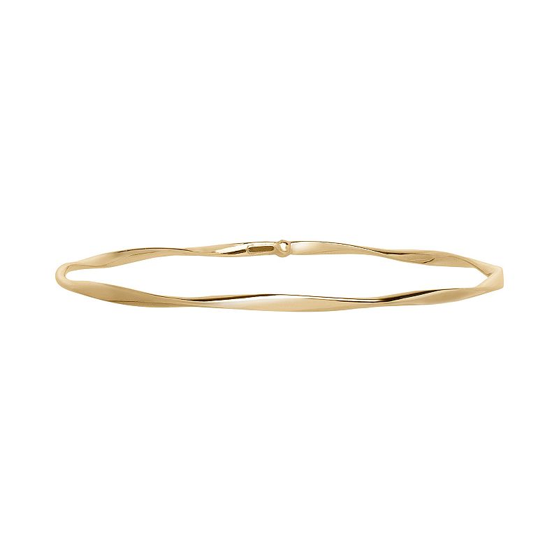 Everlasting Gold 14k Gold Twist Bangle Bracelet, Women's, Size: 8  Complement your outfit with the classic charm of this 14k gold twisted bangle bracelet. Bracelet Details Length: 8 in. Metal: 14k gold Finish: polished Size: 8 . Gender: Female. Age Group: Adult.
