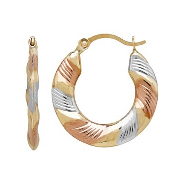 Everlasting Gold Tri Tone 10k Gold Striped Hoop Earrings