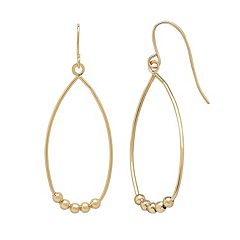 Everlasting Gold 10k Gold Beaded Teardrop Earrings