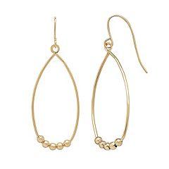 Everlasting Gold 10k Gold Beaded Teardrop Earrings