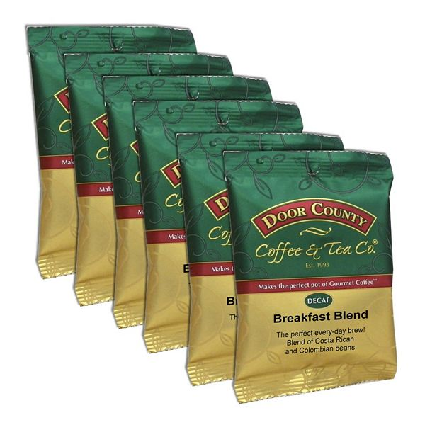 Door County Coffee & Tea Co. Decaf Breakfast Blend Ground Coffee 6-pk.