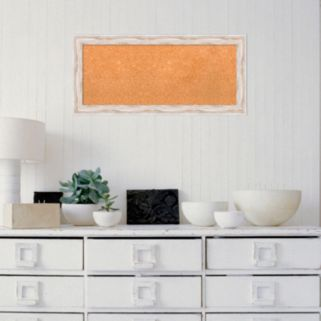 Amanti Art Alexandria White Wash Framed Cork Board Wall Decor