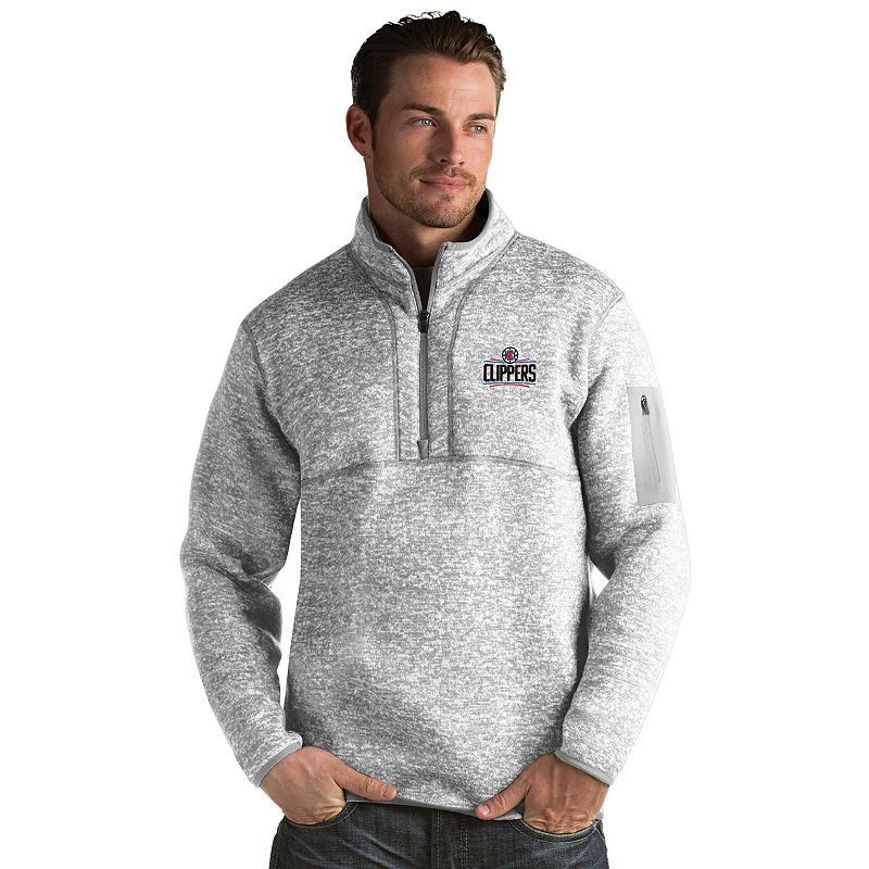 Men's Antigua Los Angeles Clippers Fortune Pullover. Size: Small. Grey