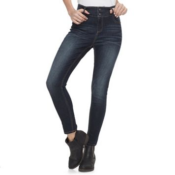 Juniors' Tinseltown Double Button Stacked Ankle Jeans