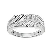 Men's Sterling Silver 1/10 Carat T.W. Diamond Diagonal Striped Ring