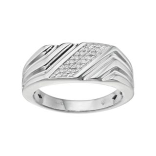 Men's Sterling Silver 1/10 Carat T.W. Diamond Diagonal Striped Ring