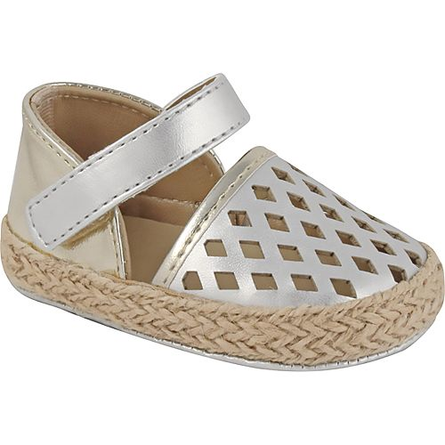Baby Girl Wee Kids Metallic Laser-Cut Espadrille Crib Shoes