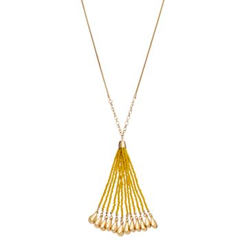Yellow Seed Bead Long Tassel Necklace