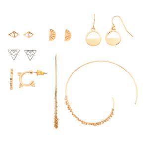 Mudd® Geometric Drop & Hoop Earring Set