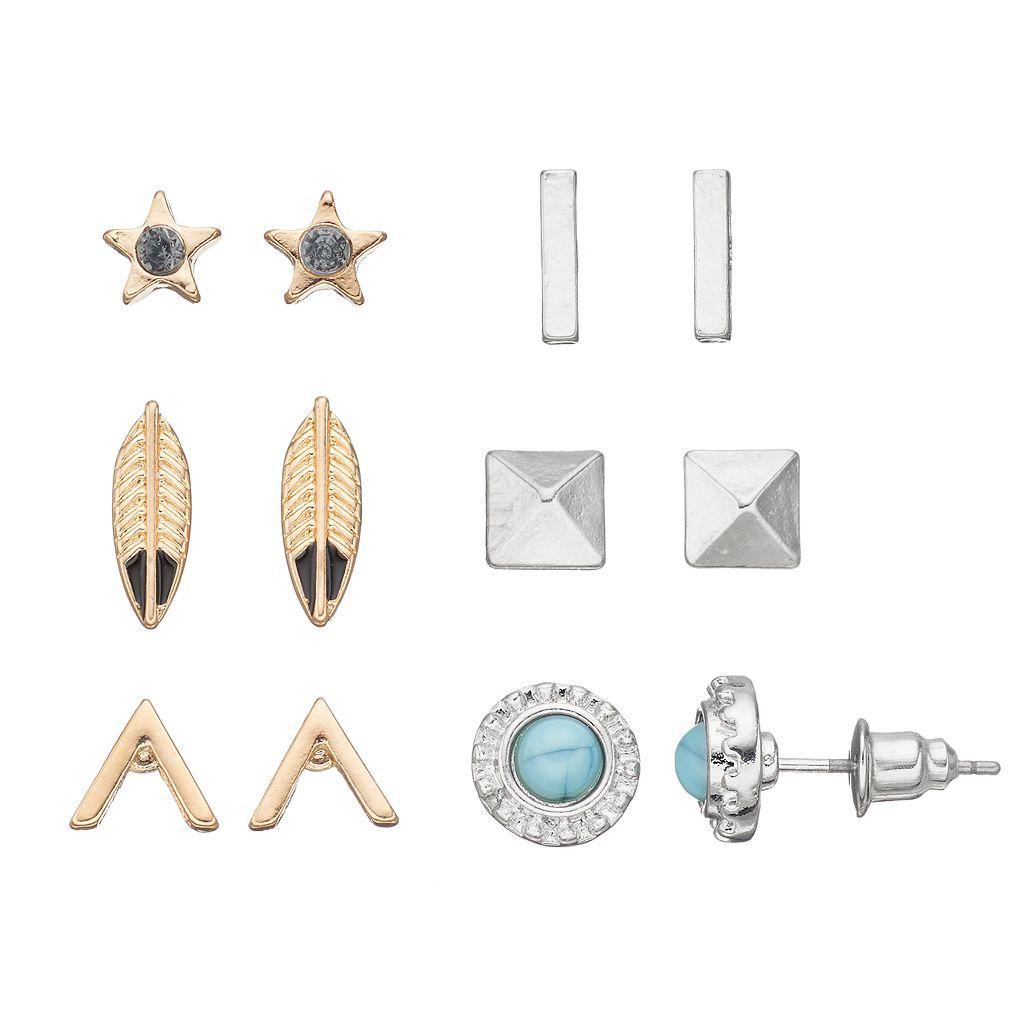 Mudd® Star, Pyramid & Leaf Stud Earring Set
