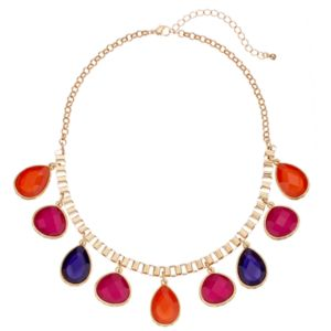 Faceted Teardrop Statement Necklace