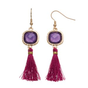 Purple Tassel Drop Earrings
