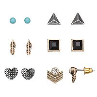 Mudd® Heart, Feather & Pyramid Stud Earring Set