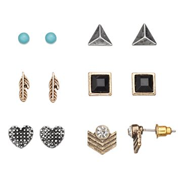 Mudd® Heart, Feather & Pyramid Stud Earring Set