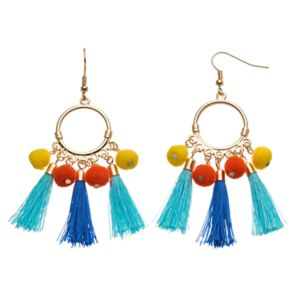 Pom Pom & Tassel Drop Hoop Earrings