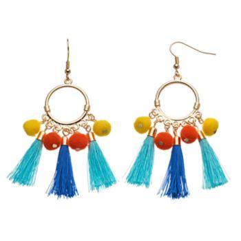 Pom Pom & Tassel Drop Hoop Earrings