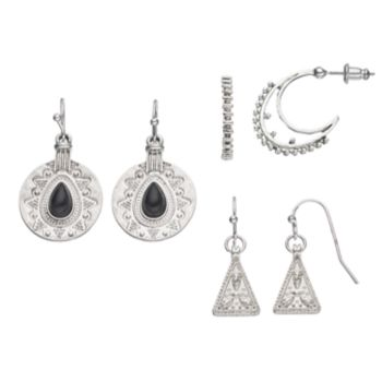 Mudd® Triangle, Disc Drop & J Hoop Earring Set