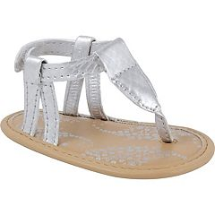 Baby Girl Wee Kids Metallic Thong Crib Sandals