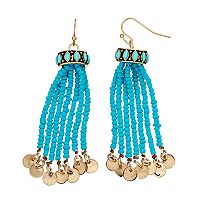 Mudd® Aqua Seed Bead Tassel Drop Earrings