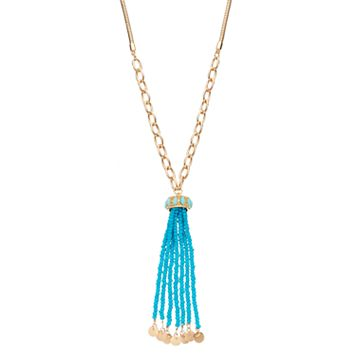 Mudd® Long Blue Seed Bead Tassel Necklace