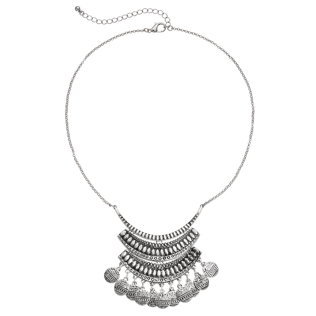 Mudd® Textured Shaky Disc Statement Necklace