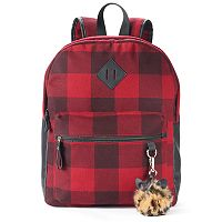Candie's® Nova Buffalo Plaid Backpack with Leopard Print Pom Pom