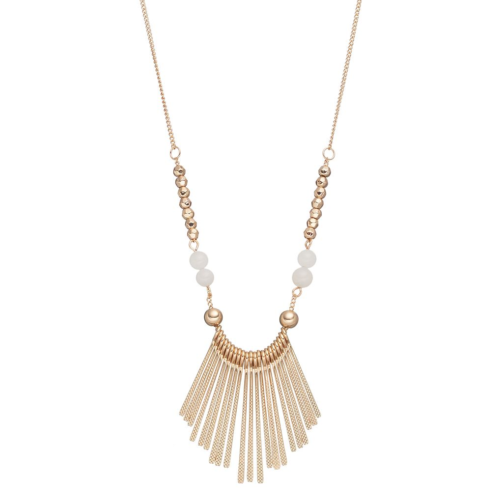 Mudd® Long Textured Stick Beaded Necklace