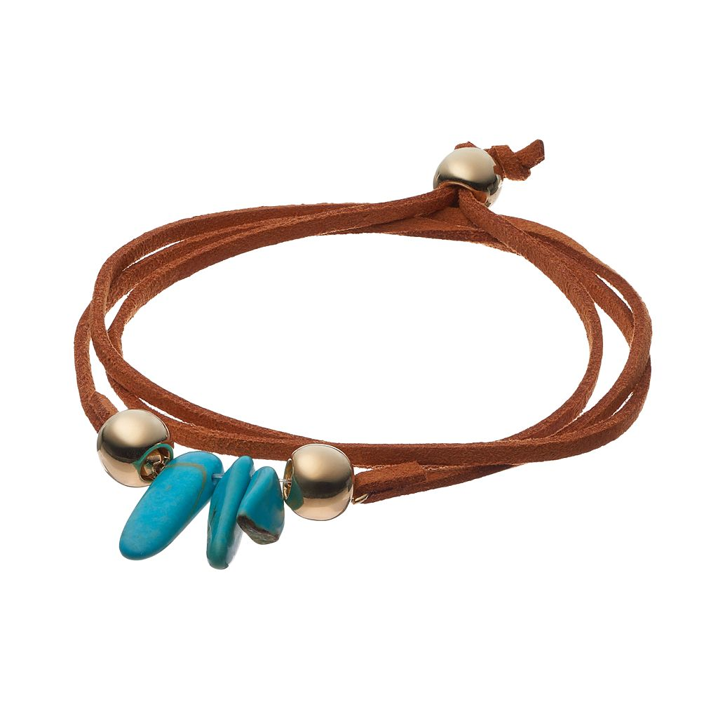 Mudd® Simulated Turquoise Faux Suede Bolo Wrap Bracelet