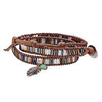 Mudd® Leaf Charm Beaded Cord Wrap Bracelet