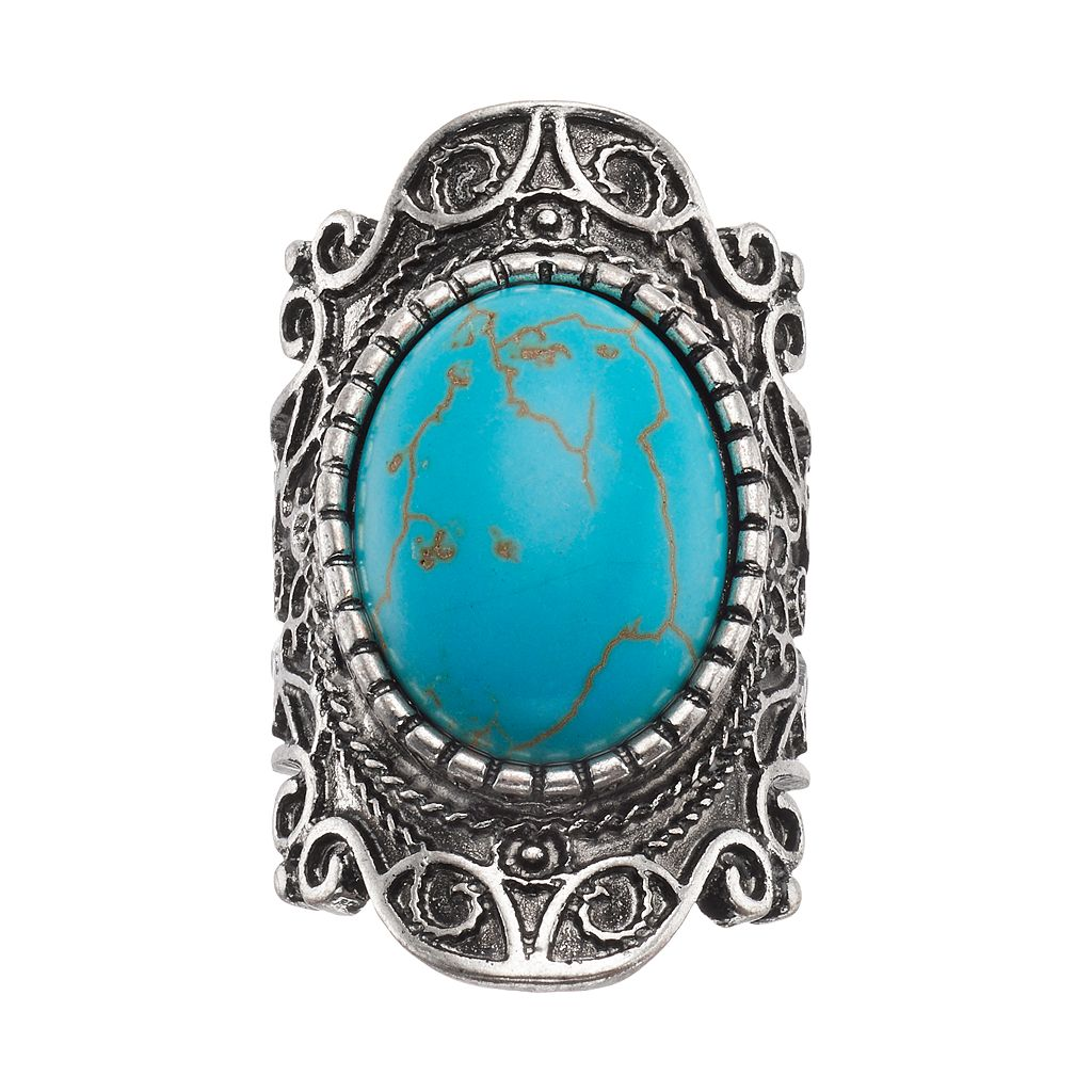 Mudd® Simulated Turquoise Cabochon Filigree Ring