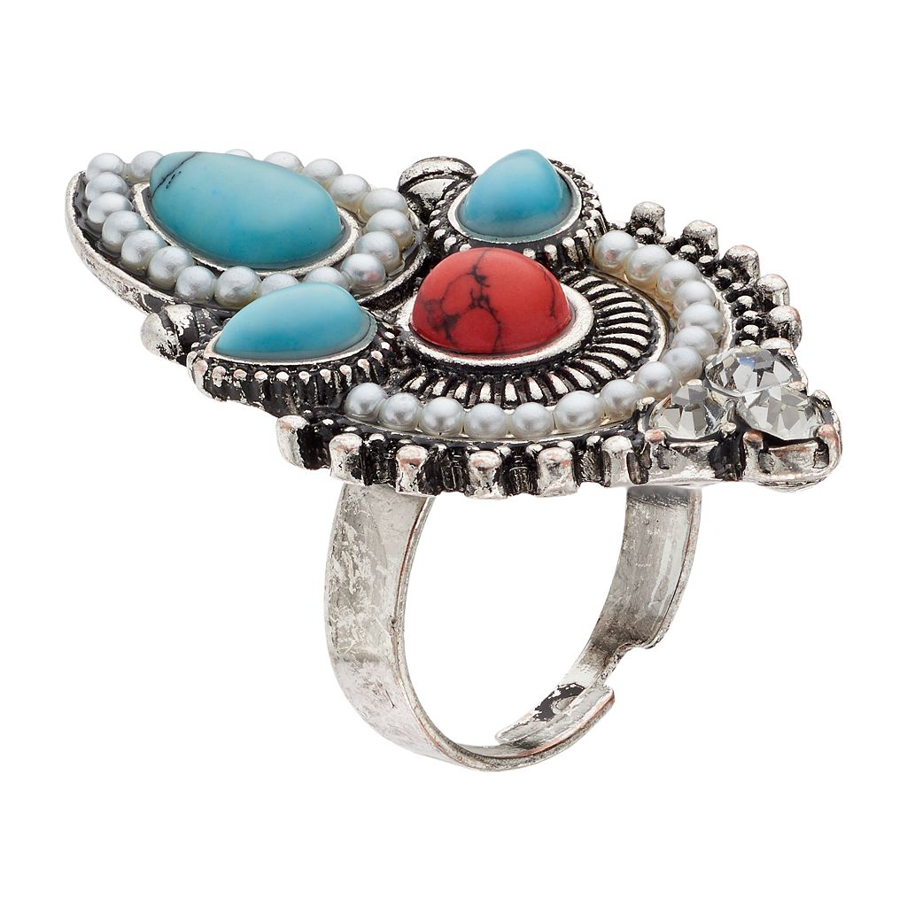 Mudd® Antiqued Stone Cluster Ring
