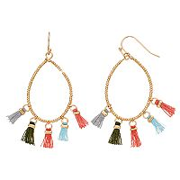 Mudd® Beaded & Tasseled Drop Hoop Earrings