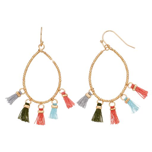 Mudd® Beaded & Tasseled Drop Hoop Earrings