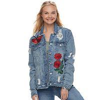 Juniors' Love, Fire Oversized Embroidered Denim Jacket