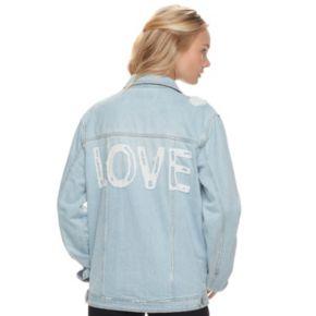 "Juniors' Love, Fire Oversized ""Love"" Ripped Jean Jacket"