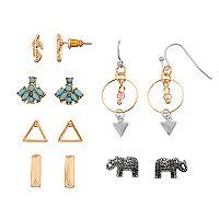 Mudd® Elephant, Feather & Triangle Earring Set