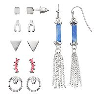Mudd® Triangle, Wishbone & Tassel Earring Set