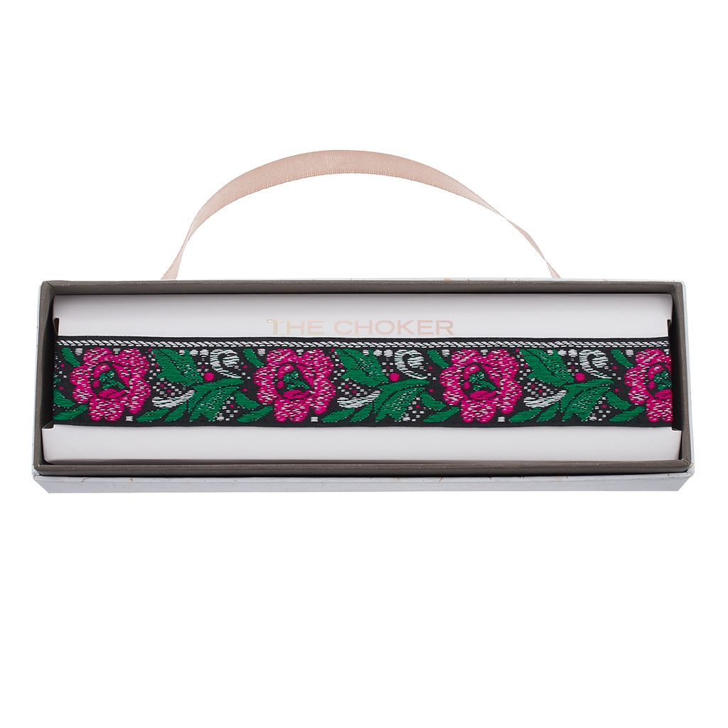 Pink Flower Embroidered Choker Necklace