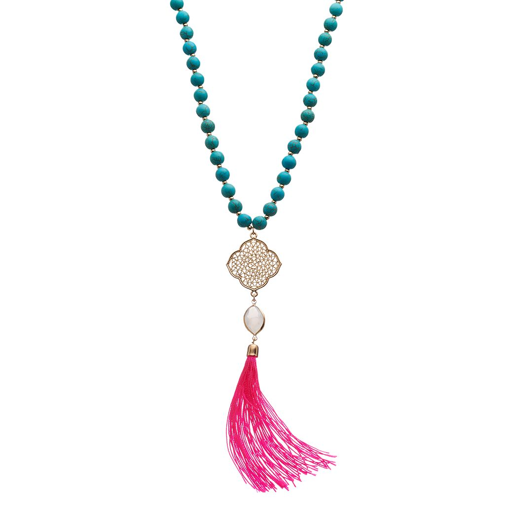 Long Pink Tassel Simulated Turquoise Beaded Necklace