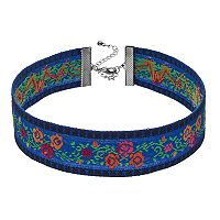 Blue Floral Embroidered Choker Necklace